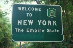 Welcome to New York Sign. Against hte forest Stock Image