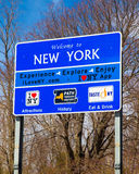 Welcome to New York Sign. Welcome to New York State travel tourism sign at Orient Point on Long Island Stock Photos