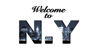 Welcome to New York text collage Royalty Free Stock Photography