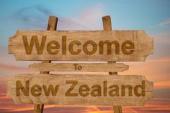 Welcome to New Zeland sign on wood background Royalty Free Stock Image
