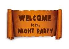 Welcome to the night party - text on scroll ribbon royalty free illustration