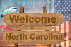 Welcome to North Carolina state in USA sign on wood, travell theme Stock Image