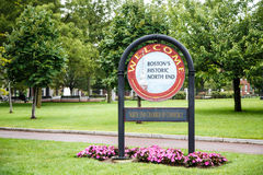 Welcome to North End of Boston. Welcome sign in Boston Park in the North End stock photography