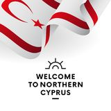 Welcome to Northern Cyprus. Northern Cyprus flag. Patriotic design. Vector illustration. Welcome to Northern Cyprus. Northern Cyprus flag. Patriotic design Royalty Free Stock Photos