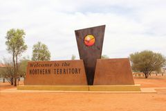 Welcome to Northern Territory monument, Australia Royalty Free Stock Images
