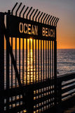 Ocean Beach Gateway at Sunset Stock Image