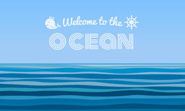 Welcome to the Ocean text on blue water waves abstract background vector design Royalty Free Stock Photo