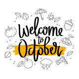 Welcome to October. Calligraphy. Stock Image