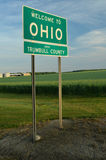 Welcome to Ohio Sign on State Line Border Stock Photography