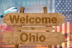 Welcome to Ohio state in USA sign on wood, travell theme stock photos