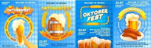 Welcome to Oktoberfest banner set, cartoon style royalty free illustration