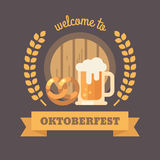 Welcome to Oktoberfest flat illustration banner Royalty Free Stock Image