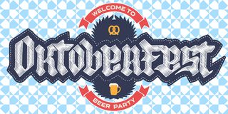 Welcome to Oktoberfest beer party, poster template with a pretze Royalty Free Stock Images