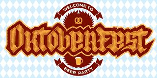 Welcome to Oktoberfest beer party, poster template with a pretze Royalty Free Stock Photos