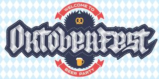Welcome to Oktoberfest beer party, poster template with a pretze Stock Images