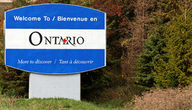 Welcome to Ontario. A welcome sign at the entrance to the Ontario province of Canada Stock Photography