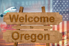 Welcome to Oregon state in USA sign on wood, travell theme Stock Images