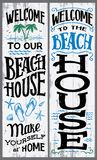 Welcome to our beach house sign. Welcome to our beach house, make yourself at home. Hand-drawn typography vertical sign set for home or cabin decor Royalty Free Stock Image