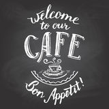 Welcome to our cafe chalkboard printable Royalty Free Stock Photo
