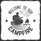 Welcome to our campfire. Vector illustration. Concept for shirt or logo, print, stamp or tee. Vintage typography design with Camper tent and forest silhouette stock illustration