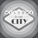 Welcome to our city vintage background poster Stock Images