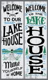 Welcome to our lake house sign. Welcome to our lake house, make yourself at home. Hand-drawn typography vertical sign set for home decor Stock Photography