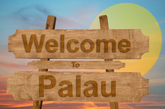 Welcome to Palau sign on wood background with blending nationa Royalty Free Stock Photography