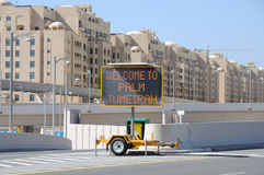 Welcome to Palm Jumeirah sign, Dubai Stock Photos