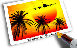 Welcome to Paradise. Photograph of plane landing in tropical country at sunset Stock Images