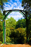 Welcome to Paradise. Picture of a gate to the beautiful garden Stock Images
