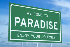 Welcome to Paradise concept Stock Photo