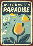 Welcome to paradise old metal sign Stock Images