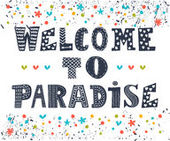 Welcome to paradise poster design. Cute greeting card.  Royalty Free Stock Photo