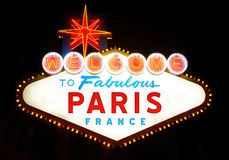 Welcome to Paris. Welcome to Fabulous Paris (France), at night Royalty Free Stock Photo