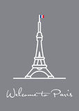 Welcome to Paris greeting card with Eiffel Tower icon. Welcome to Paris, Greeting Card vector illustration with Eiffel Tower Royalty Free Stock Image