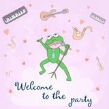 Welcome to the party - concept card. Sweet congratulation card in . Royalty Free Stock Image