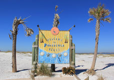 Welcome to Pensacola Beach. Sign welcomes visitors to Pensacola Beach Stock Image
