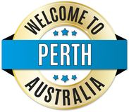 Welcome to perth australia badge. Round glossy travel web badge royalty free illustration