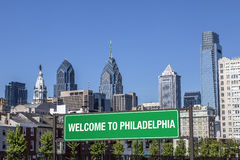 Welcome to Philadelphia. Sign over a highway Royalty Free Stock Photography