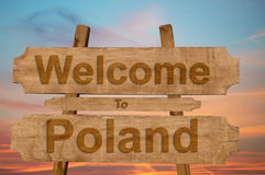 Welcome to Poland sign on wood background Royalty Free Stock Photography