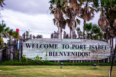 Welcome to port isabel texas sign stock photo