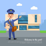 Welcome to Post Banner. Postman Pointing on Office Stock Photography
