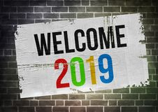 Welcome to 2019. Poster graphic stock images
