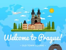 Welcome to Prague poster with famous attraction Royalty Free Stock Photography
