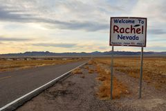 Welcome to Rachel, Nevada sign on SR-375 highway in Rachel, NV. Rachel, Nevada, United States of America – November 21, 2017. Welcome to Rachel, Nevada royalty free stock photography