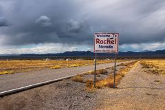 Welcome to Rachel street sign on SR-375 in Nevada, USA. Welcome to Rachel street sign on SR-375 in Nevada, also known as the Extraterrestrial Highway. Situated stock photography