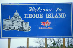 Welcome to Rhode Island Sign stock photography