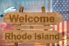 Welcome to Rhode Island state in USA sign on wood, travell theme Stock Photo