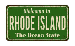 Welcome to Rhode Island vintage rusty metal sign Stock Image