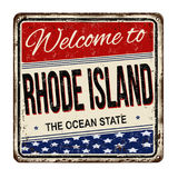 Welcome to Rhode Island vintage rusty metal sign Stock Photography